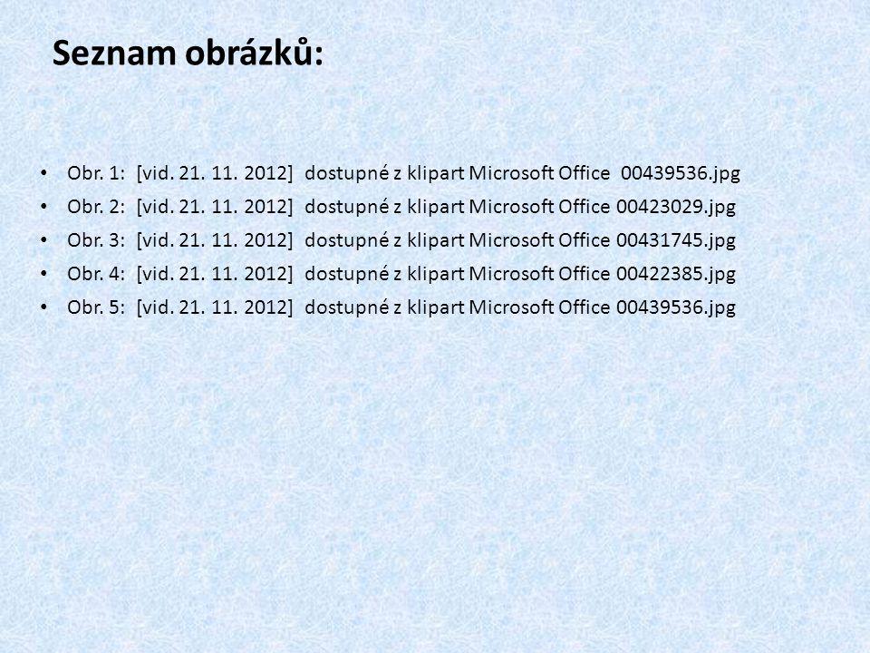 Seznam obrázků: Obr. 1: [vid. 21. 11. 2012] dostupné z klipart Microsoft Office 00439536.jpg.